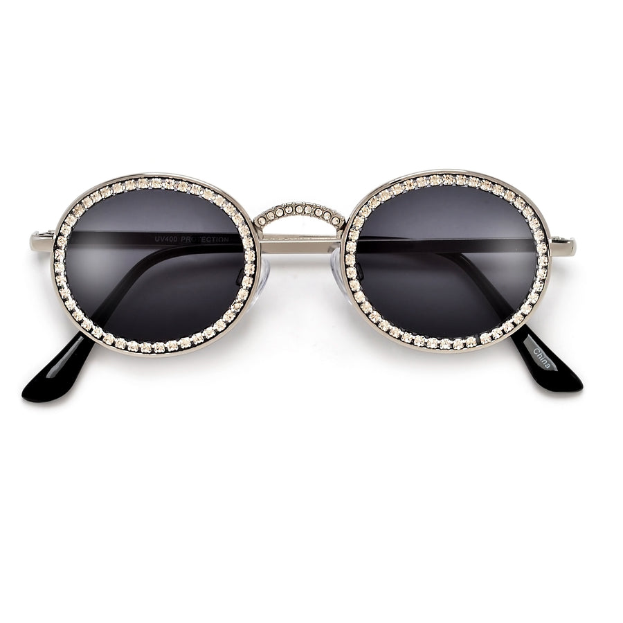 Shimmering Crystals Embed Ultra Chic Round Sunnies