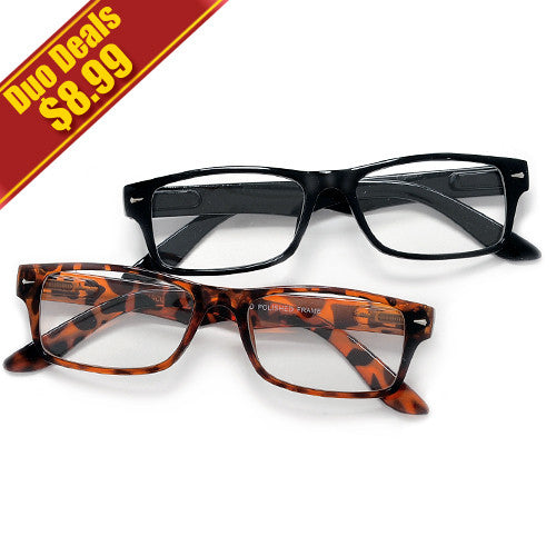 2 Pack Rectangular Clear Lens Casual Eyewear Glasses
