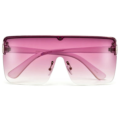 Eye Catching Oversize Half Frame Shield Sunnies