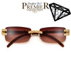 PREMIER BLING BLING COLLECTION-STUNNING CRYSTAL EMBEDDED RIMLESS HIGH FASHION SUNNIES - Sunglass Spot