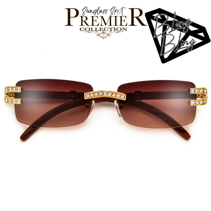 PREMIER BLING BLING COLLECTION-STUNNING CRYSTAL EMBEDDED RIMLESS HIGH FASHION SUNNIES