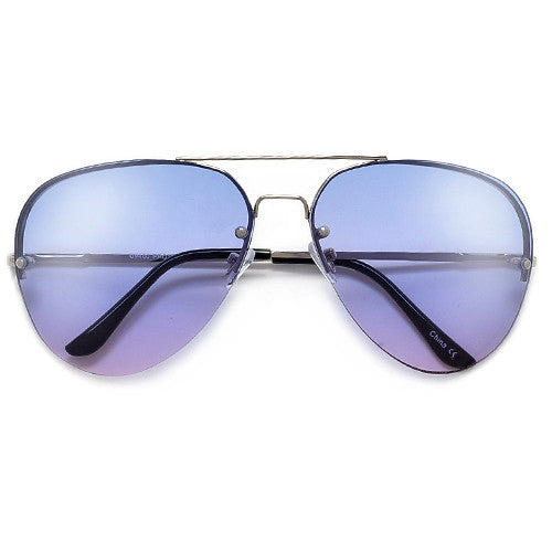 61mm Colorful Rimless High Fashion Aviator Sunglasses