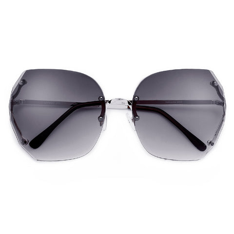 Women's Oversize 67mm Rimless Open Temple High Fashion Sunglasses