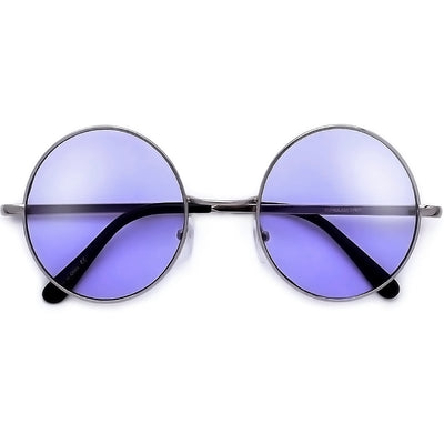 Oversized 60mm Round Boho Chic Wire Frame Sunnies - Sunglass Spot