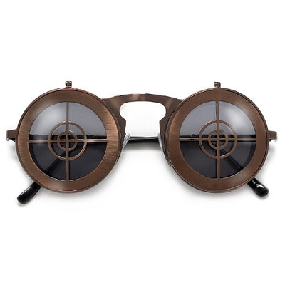 Steampunk Full Metal Round Flip Up Crosshairs Sunglasses - Sunglass Spot