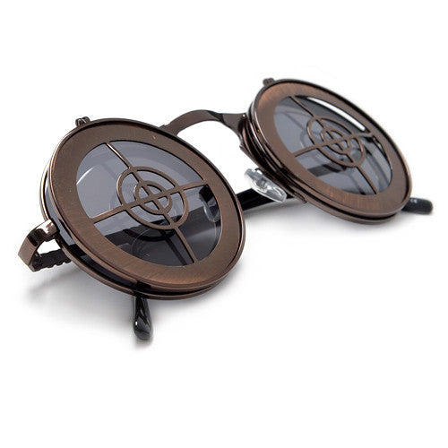 Steampunk Full Metal Round Flip Up Crosshairs Sunglasses