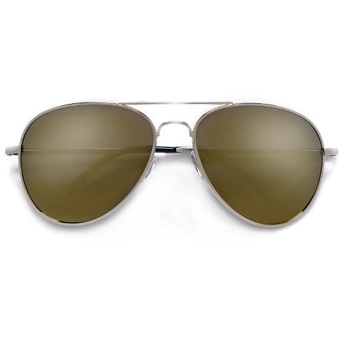 Polarized 56mm Color Mirrored Silver Sleek Classic Aviator - Sunglass Spot