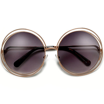 Oversized 62mm Round Boho Chic Metal Wire Frame Fashion Sunglasses - Sunglass Spot