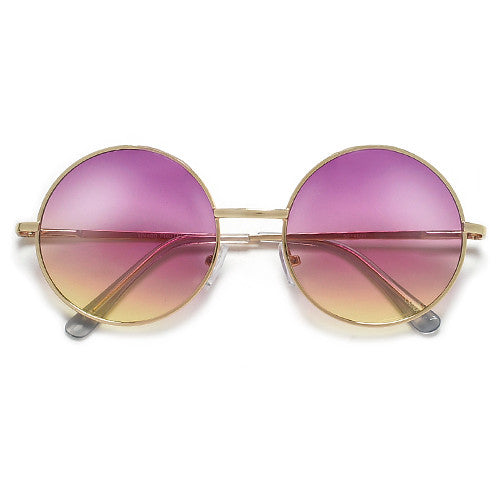 Lennon Inspired Colorful Ombre Lens Retro Round 50mm Metal Sunglasses