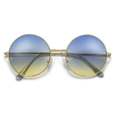 Lennon Inspired Colorful Ombre Lens Retro Round 50mm Metal Sunglasses - Sunglass Spot