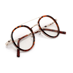 Retro Round 47mm Brow Bar Lightweight Metal Trim Clear Lens Eyewear
