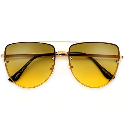 Rimless Frame Colorful Ombre Lens Flat Top Aviator Sunglasses - Sunglass Spot