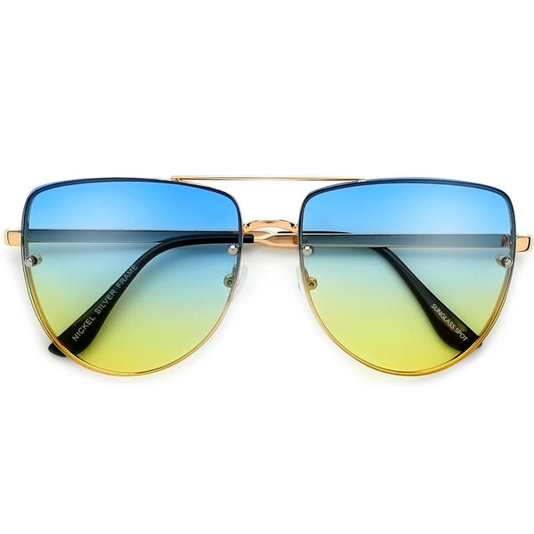 Rimless Frame Colorful Ombre Lens Flat Top Aviator Sunglasses