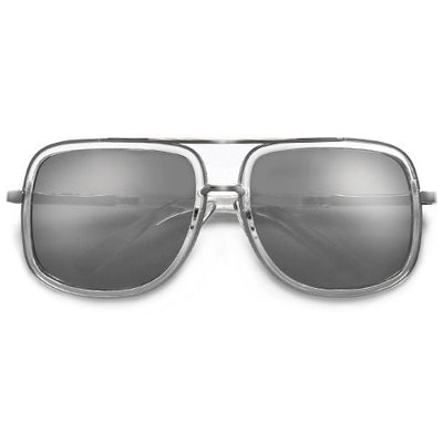Designer Inspired High Fashion Square Aviator with Antique Metal Trim Detail