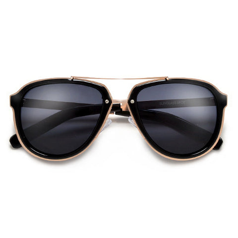 Stylish Attitude Appeal Metal Trim Modernized Aviator Sunglasses