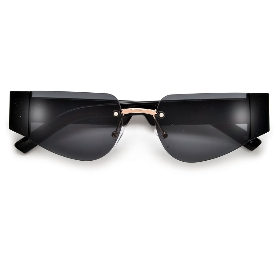 Slim Rimless Futuristic Cat Eye Sunnies