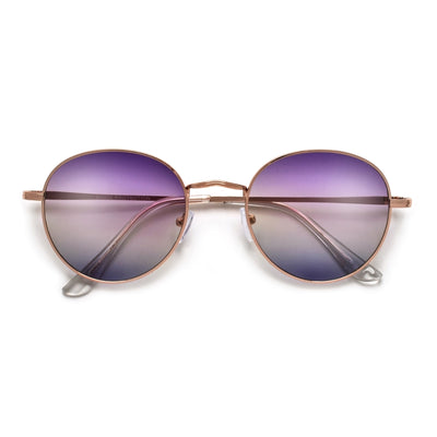 Oversize Retro Round 54mm Lightweight Metallic Colorful Mirrored Lens Sunglasses - Sunglass Spot