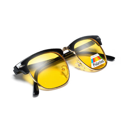 HD Night-Time Vision Glare Reducing Retro Half Frame Sunglasses - Sunglass Spot