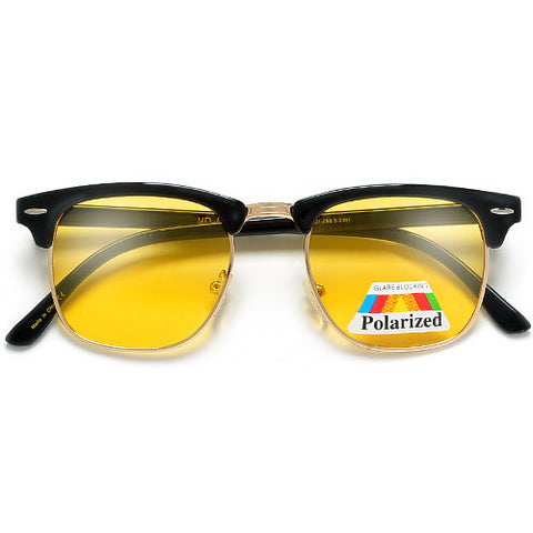 HD Night-Time Vision Glare Reducing Retro Half Frame Sunglasses