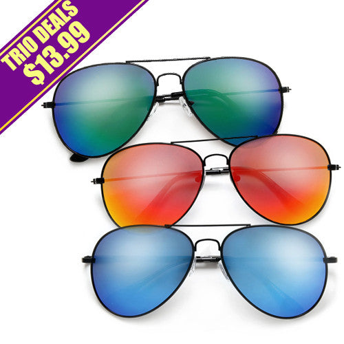 3 Pack Classic Sleek Jet Black Colorful Vibrant Lens Aviator Sunglasses