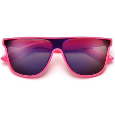 Sporty Vibrant Flat Top Shield Sunnies - Sunglass Spot