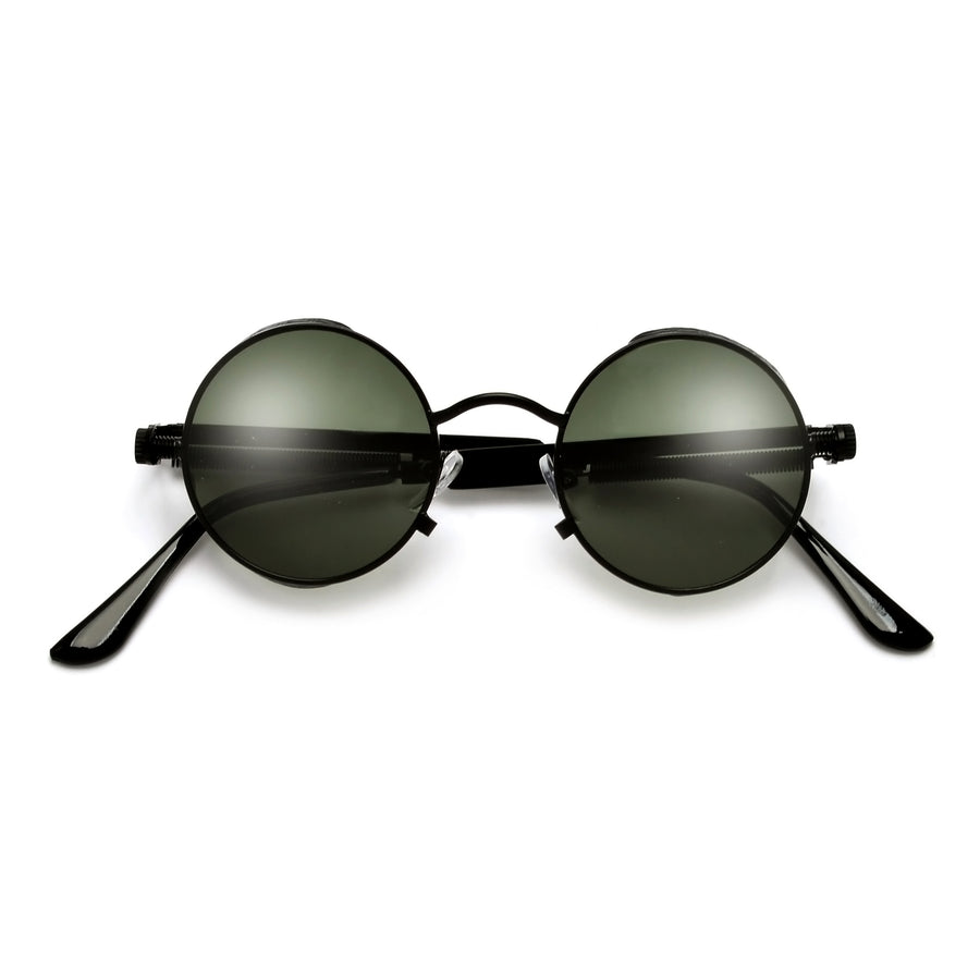 Mini 42mm Steampunk Gothic Round Sidecup  Full Metal Sunglasses