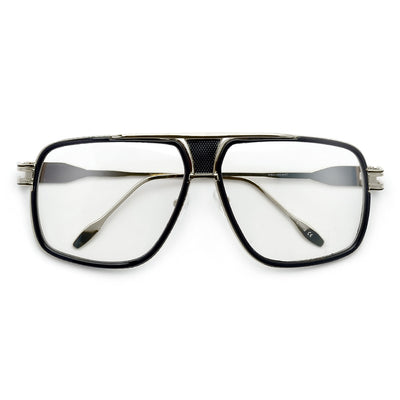 Modernized Gleaming Metal Outline Oversize Squared Off Clear Aviator - Sunglass Spot