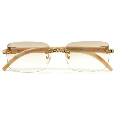 Rimless High Fashion Crystal Embedded Sunglasses