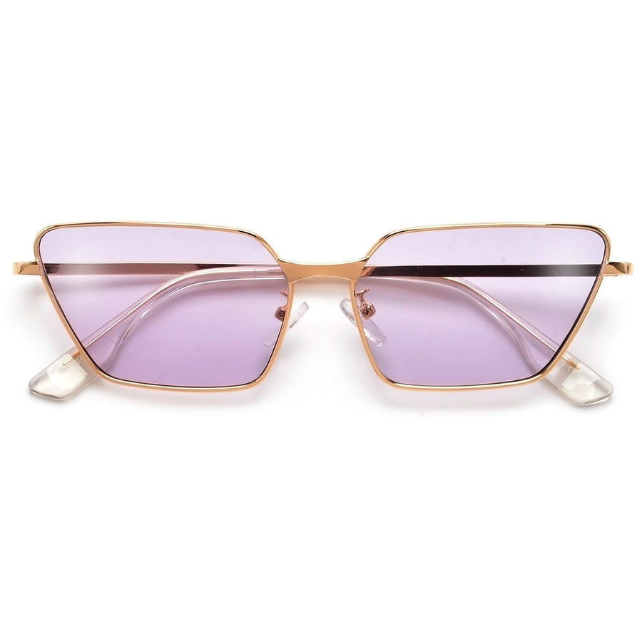 Sharp High Tip Slim Cat Eye Metal Sunnies