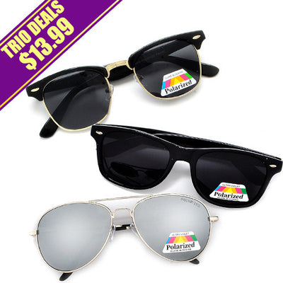 3 Pack Polarized Glare Reduction Ultimate Fashion Trend Sunglasses