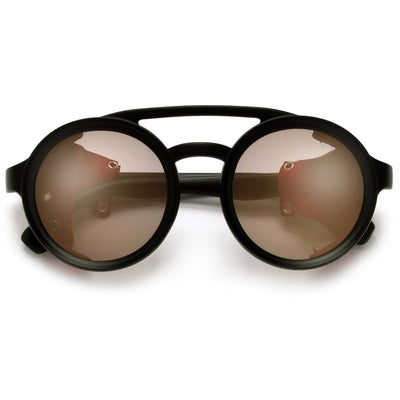 Vintage Leather Side Cup Round Steampunk Inspired Sunglasses - Sunglass Spot