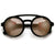 Vintage Leather Side Cup Round Steampunk Inspired Sunglasses