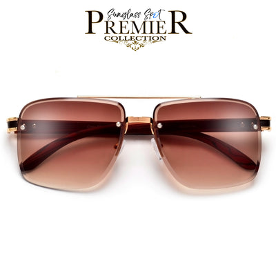 Rimless Beveled Lens Detailed Wood Temple High Fashion Aviator - Sunglass Spot