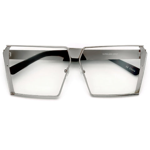 Sharp Sleek Modern Flat Top Oversize 72mm Rectangular Silhouette Show Stopping Eyewear