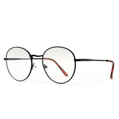 Oversize Retro Round 54mm Lightweight Metallic Clear Lens Eyewear - Sunglass Spot