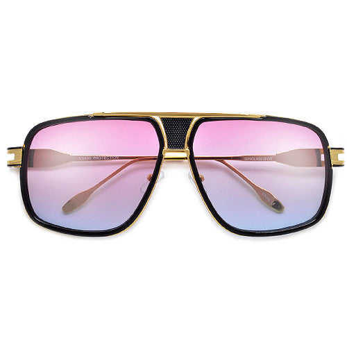 Modernized Gleaming Metal Outline Oversize Squared Off Aviator Sunglasses