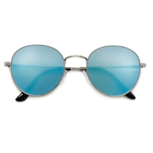 Oversize Retro Round 54mm Lightweight Metallic Colorful Mirrored Lens Sunglasses