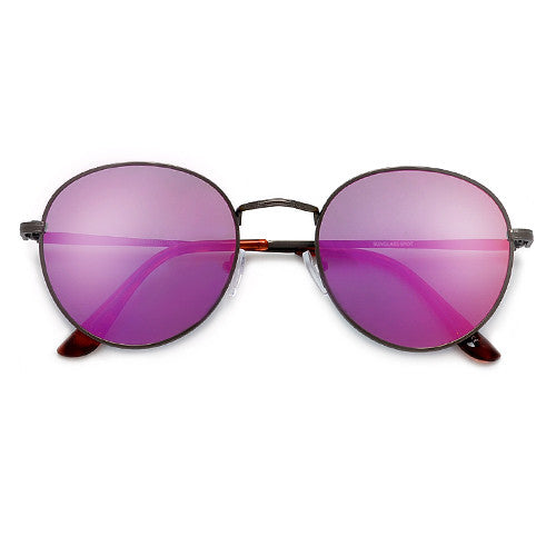 24a29f861a3 Oversize Retro Round 54mm Lightweight Metallic Colorful Mirrored Lens  Sunglasses