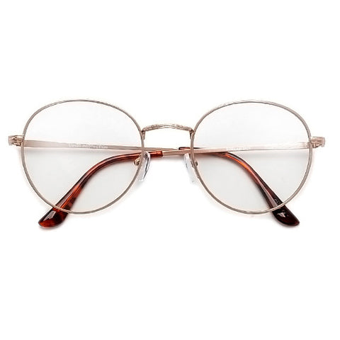 Oversize Retro Round 54mm Lightweight Metallic Clear Lens Eyewear