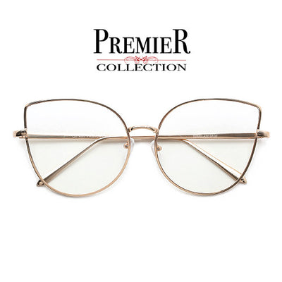 Premier Collection-60mm Mid Size Stunning Concentric Metal Wire Cat Eye Silhouette Clear View Eyewear - Sunglass Spot