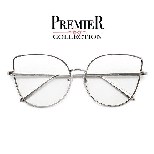 Premier Collection-60mm Mid Size Stunning Concentric Metal Wire Cat Eye Silhouette Clear View Eyewear