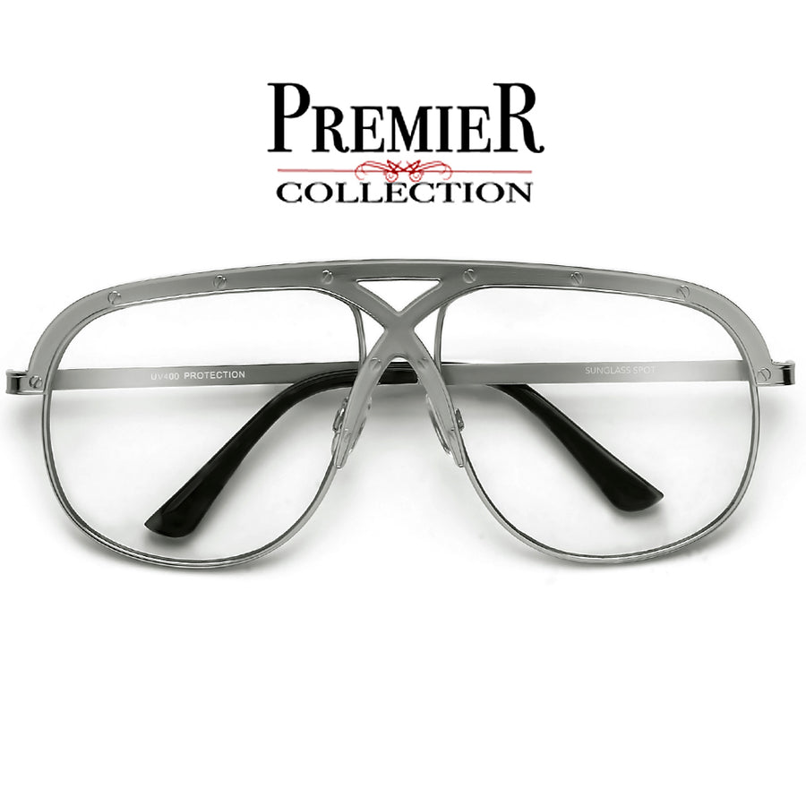 Premier Collection-Oversize 63mm Crossover Bridge Riveted Accent Clear Aviator - Sunglass Spot