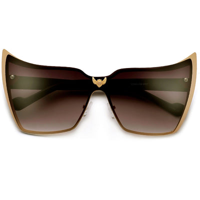 Super High Tip Metal Outlined Cat Eye Silhouette Shield Sunnies - Sunglass Spot