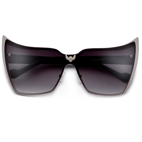 Super High Tip Metal Outlined Cat Eye Silhouette Shield Sunnies
