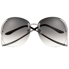 Oversize 65mm Hollywood Glam Rimless Fashion Sunglasses