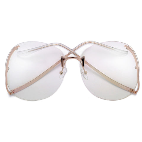 Oversize 65mm Hollywood Glam Rimless Fashion Eyewear