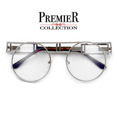 Premier Collection-Full Metal Round Steampunk Clear Lens Eyewear - Sunglass Spot