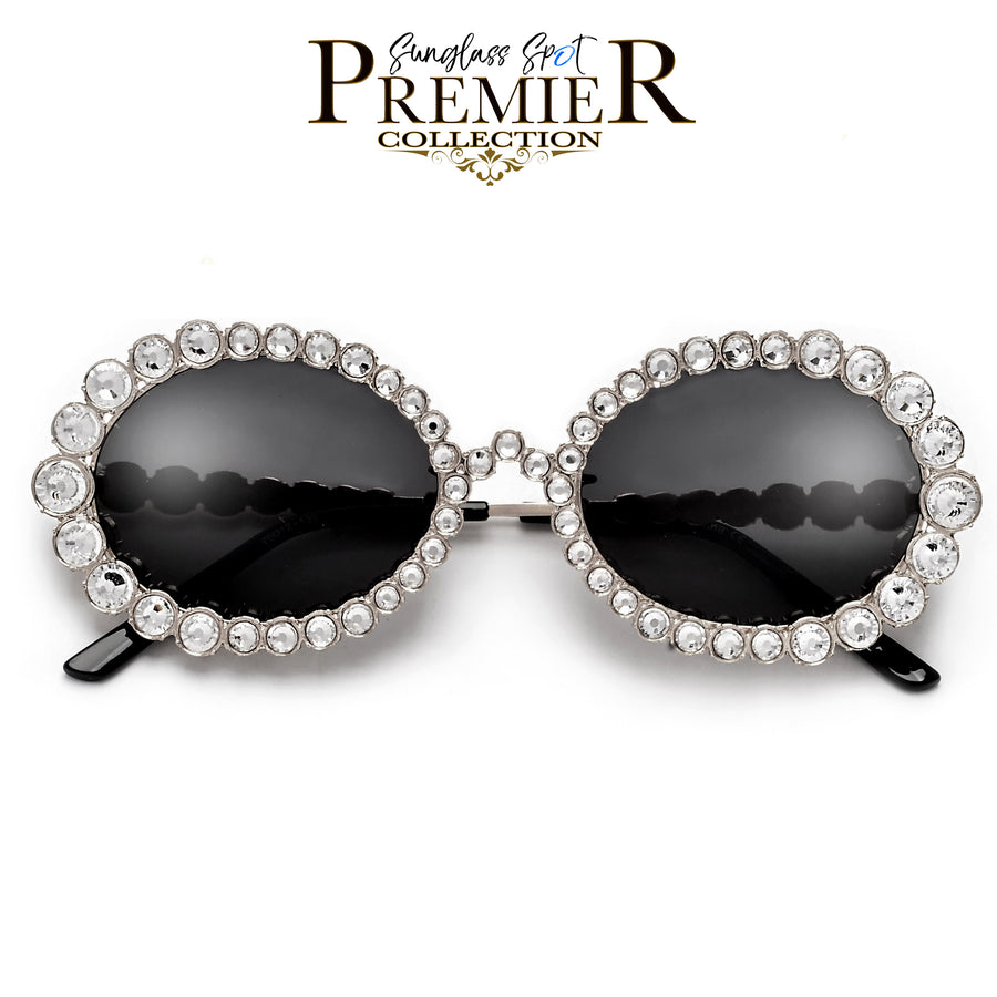 PREMIER BLING BLING COLLECTION-SHINY SPARKLING CRYSTALS ALLURING OVAL SUNNIES
