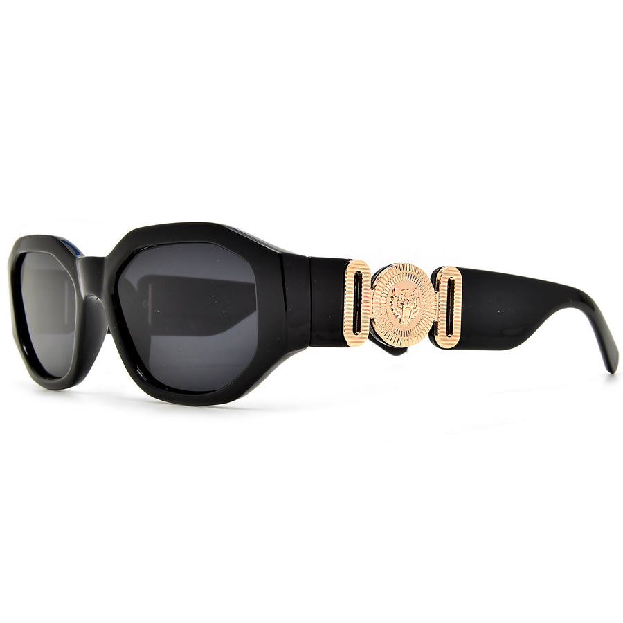 Geometric Medallion Logo Temple Chic Cat Eye Sunglasses