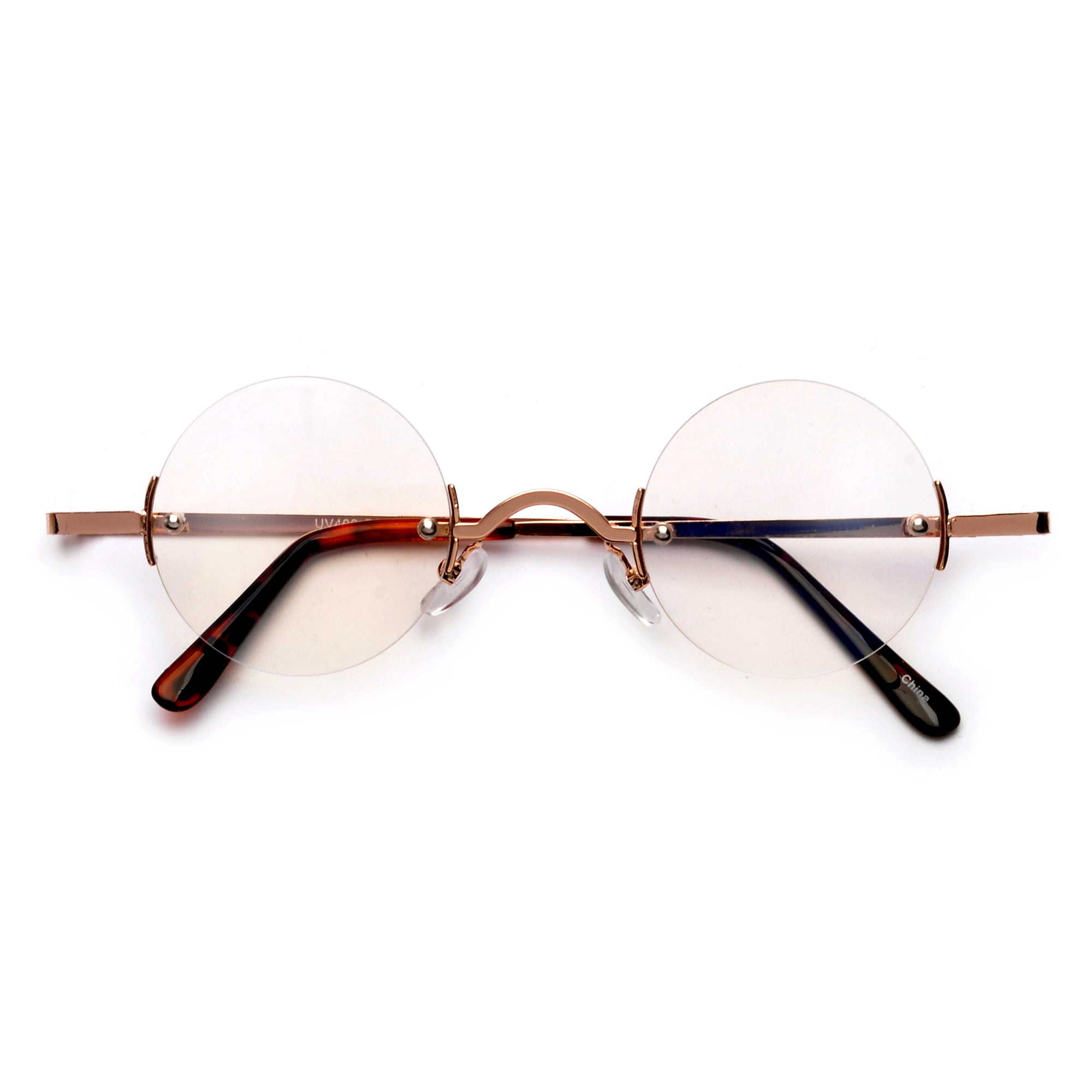 2a08587382f RX Frame Eyewear · Vintage Round Rimless Clear Spectacles
